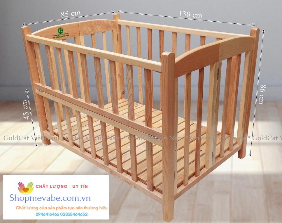 Giường cũi  gỗ Sồi GoldCat 130 x 85