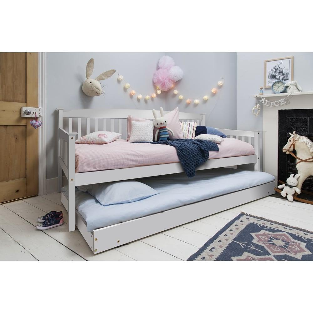 Giường ngủ trẻ em có ngăn kéo 2 tầng Trắng và Xám