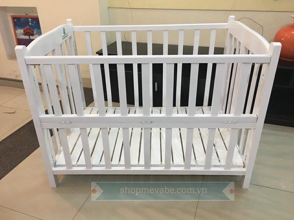 Giường cũi gỗ cho bé màu trắng Goldcat 70x110