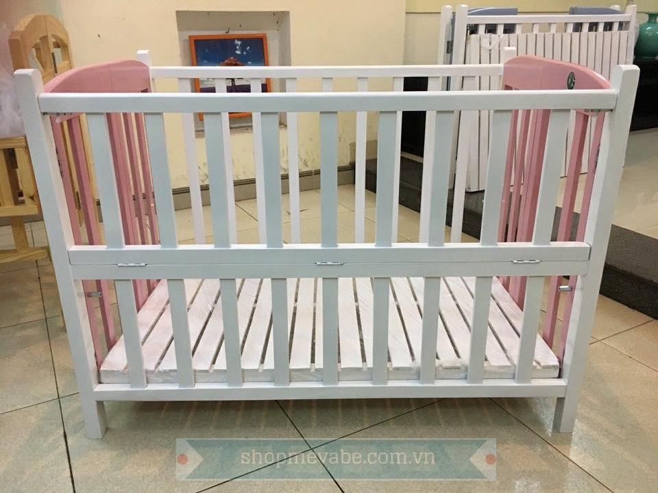 Giường cũi GoldCat  trắng - hồng