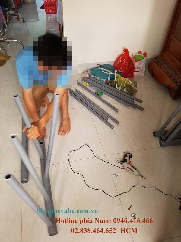 Hướng dẫn mẹ tự làm cũi bằng ống nhựa cho con vừa đẹp vừa rộng