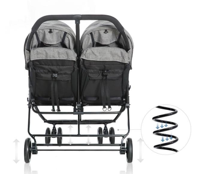 Xe đẩy đôi cho bé Fedora T2 Gray