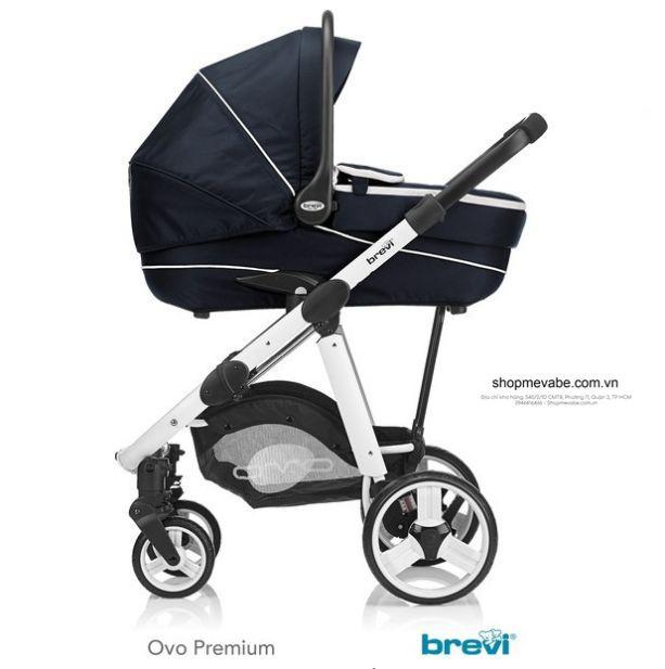 Bộ xe đẩy em bé Brevi Ovo 3 trong 1 Màu xanh đen BRE729 - 002