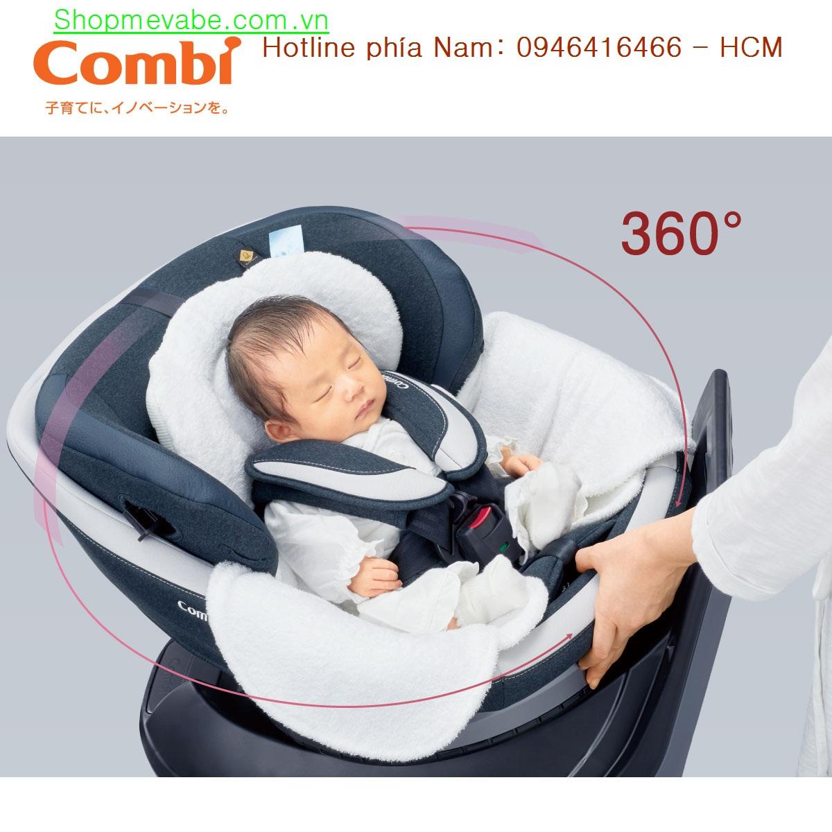 Ghế ngồi ô tô Combi Culmove xoay 360° nâu socola