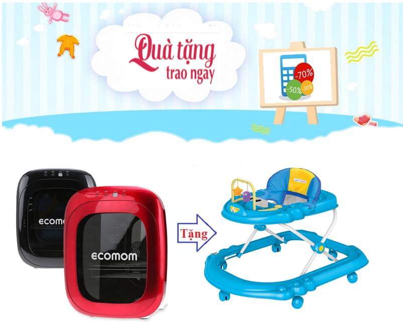 Máy tiệt trùng sấy khô bằng tia UV Ecomom ECO-100  Tặng xe tập đi cao cấp cho bé (có nhạc) AUBW03 4