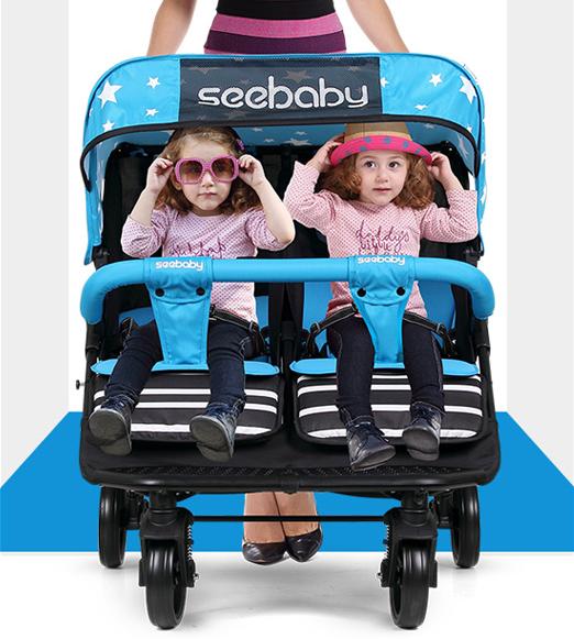 Xe đẩy đôi cho em bé Seebaby T22 Xanh dương